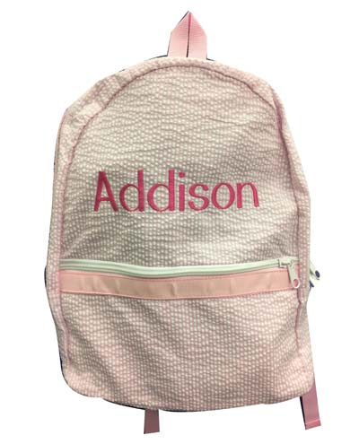 Addison's pink seersucker Back Pack  (comes in 2 sizes)