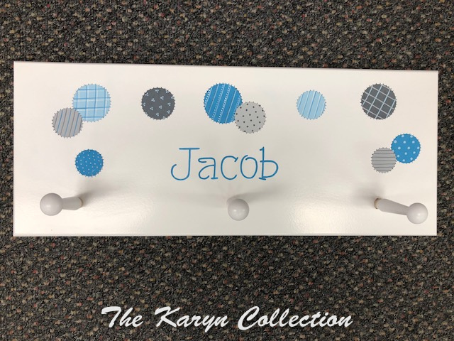 3 Peg Wall Coat Rack for Jacob in patchwork dots