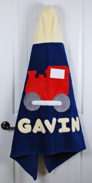 Navy Train Toddler Hooded Towel