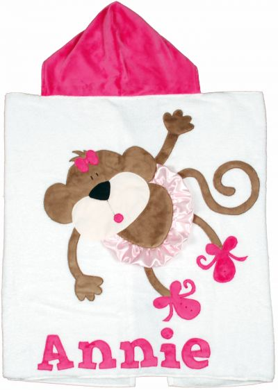 Hot Pink on White Monkey Toddler Towel