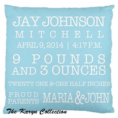 Birth Announcement Pillow Boy