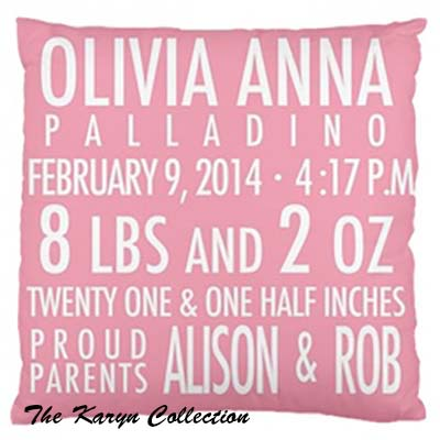 Birth Announcement Pillow Girl