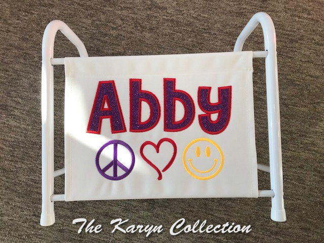 Abby's peace, hearts and happy face magazine-book rack