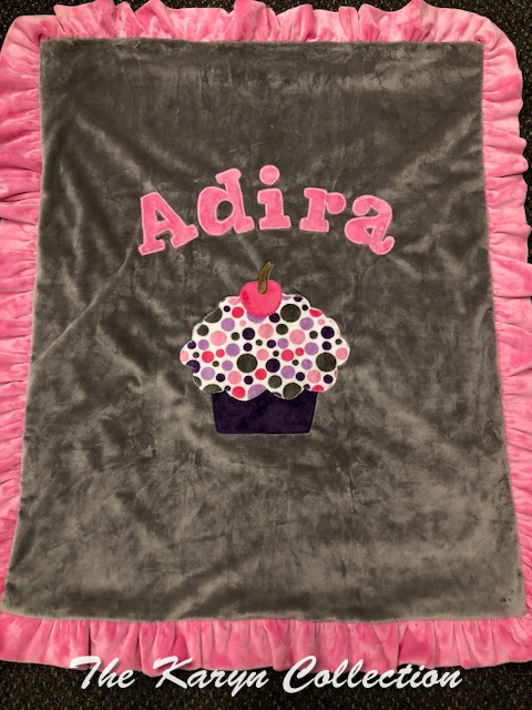 Adira's Cupcake Blanket in Pinks and Grays