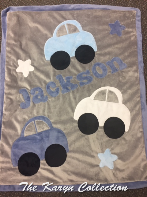 Blue & Grey Cars Minky Blanket