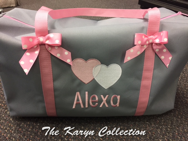 Aliza's Gray Suitcase with Hearts