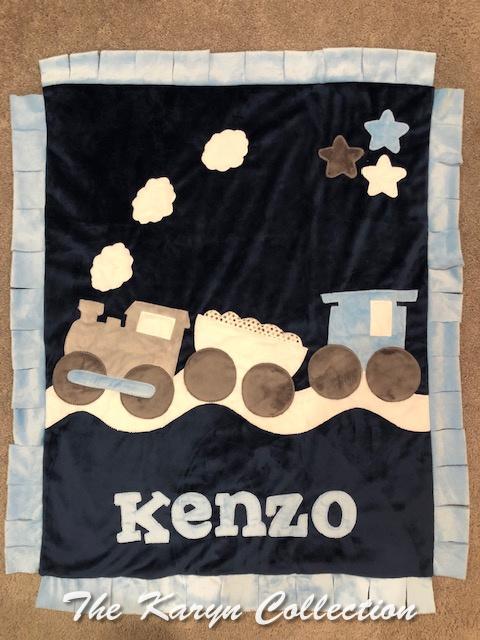 Kenzo's train minki blanket