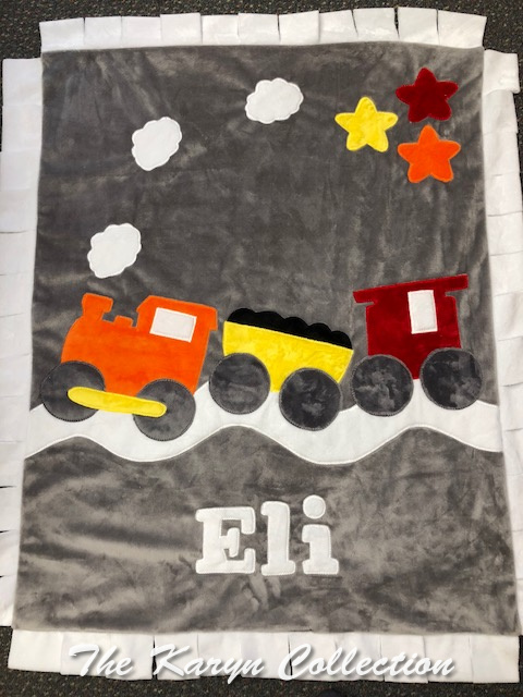 Eli's MINKY Train Blanket