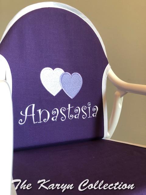Anastasia's purple rocker with 2 hearts