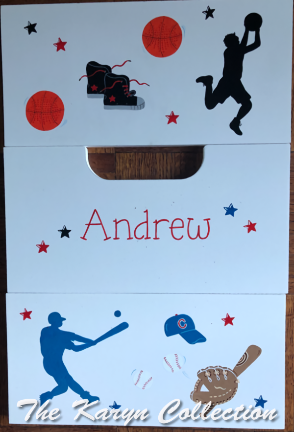 Andrew's 2 step stool in basketball and baseball with silhouettes***