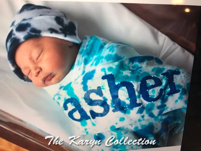 Asher's blue and turquoise tie dye blanket