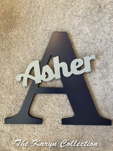 Asher's wall letters in black with light gray     (lots of color combos available)