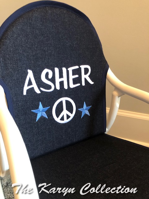 Asher's Peace with stars on denim rocker