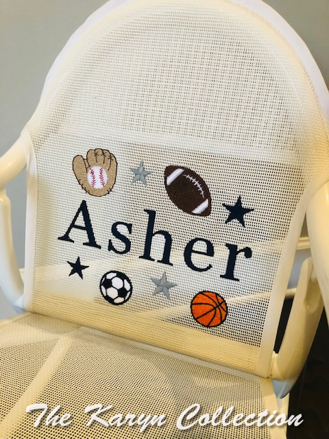 Asher's all sports rocker on white mesh