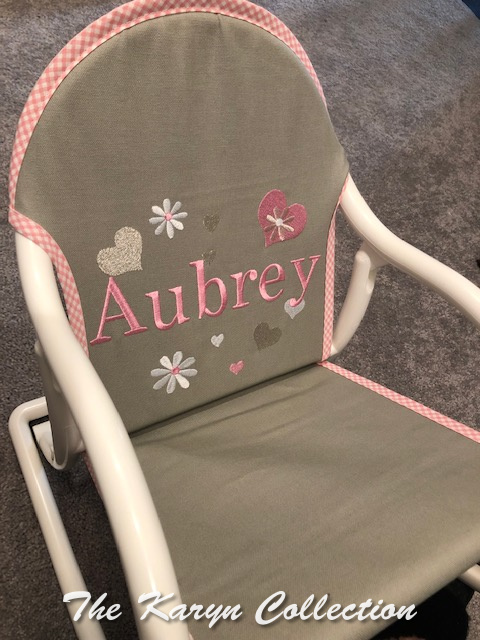 Aubrey's gray with pink hearts and daisies rocker
