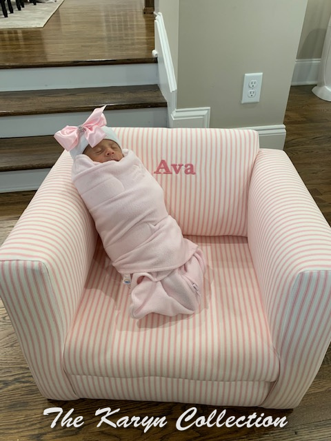Ava's pink ticking stripe chair