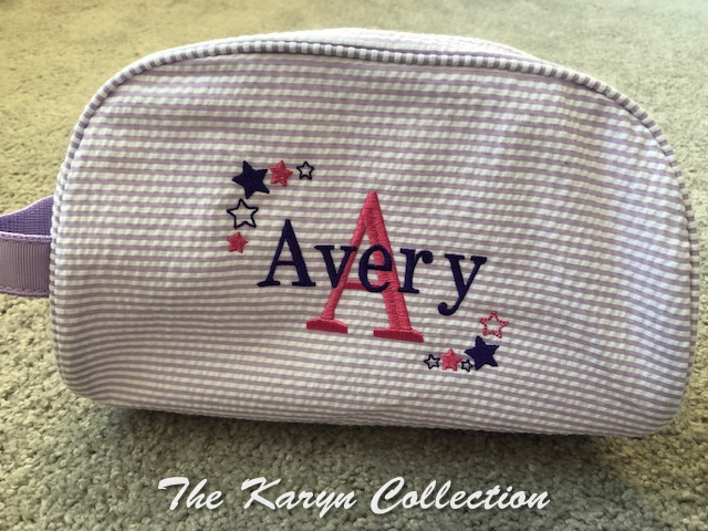 Avery's lavender Dopp kit with shadow star design