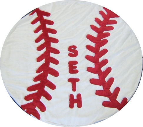 Baseball Shape Minky Blanket