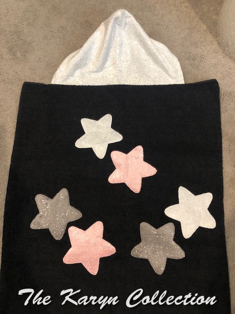 Black hooded towel with glimmering STARS***** NEW