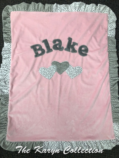 Blake's Basic Hearts Blanket with Gray and White Dots