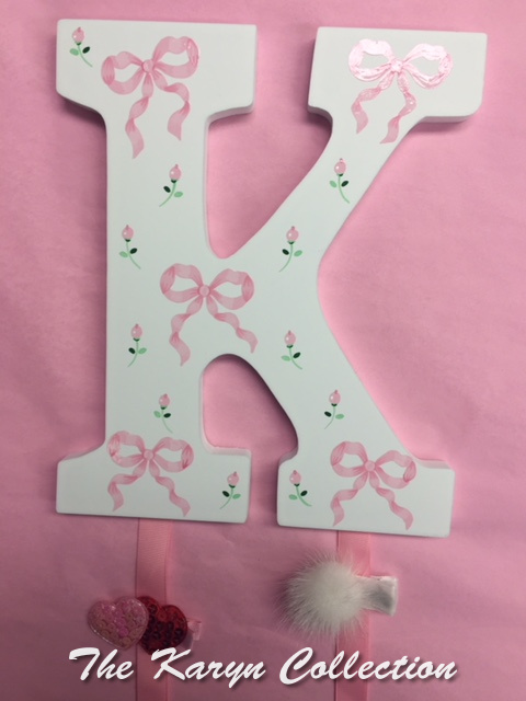 Pink Bows with rosebuds- Initial Hand Painted Barrette Holder