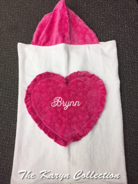 Brynn  Embossed Heart Toddler Hooded Towel