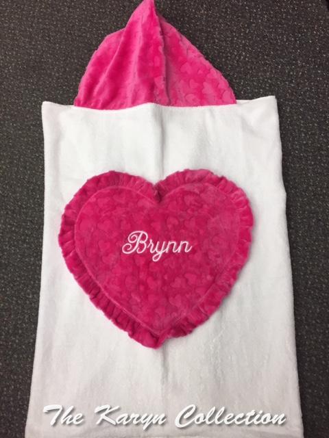 Brynn  Embossed Heart Toddler Hooded Towel