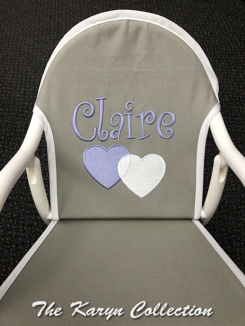 Claire's Gray and White Rocker with Lavender and white Hearts