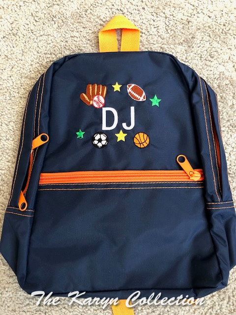 DJ's navy with orange sports backpack
