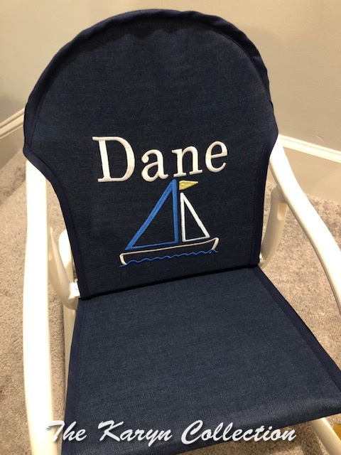 Dane's sailboat rocker on denim... ready to fish, rock and roll!!