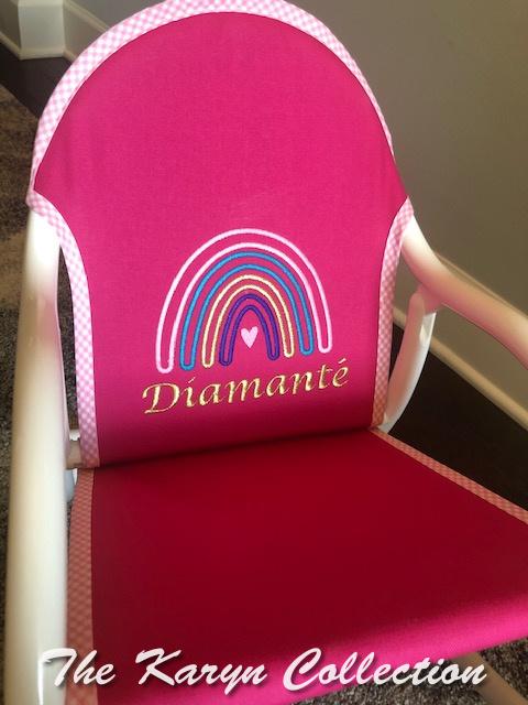 Diamanté's hot pink rocker with rainbow