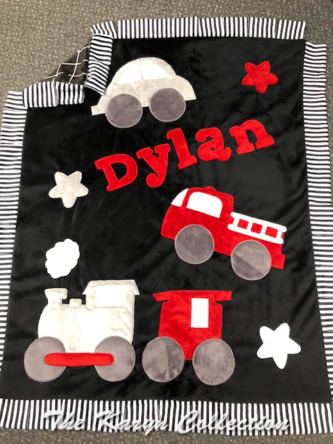 Dylan's Transportation Blanket in Blacks-gray-red-white