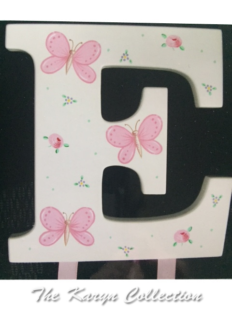 Pink Butterflies Initial Hand Painted Barrette Holder