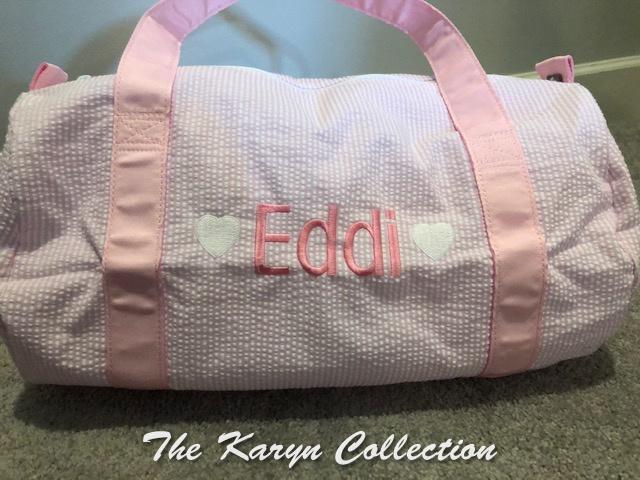 Eddi's pink seersucker duffle with 2 mini hearts