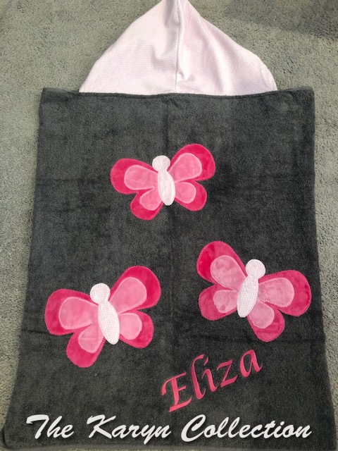 Eliza's Pink Butterfly Toddler Hooded Towel