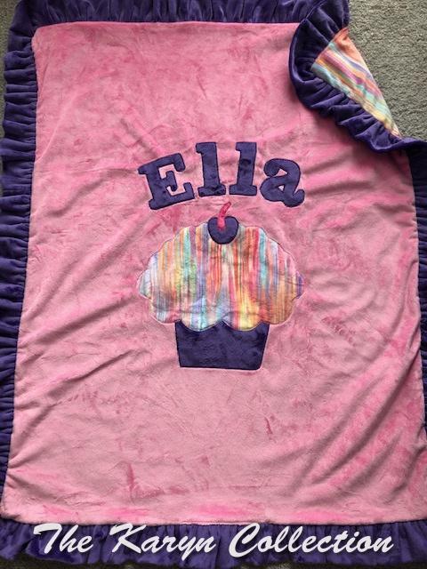 Ella's basic pink and purple cupcake blanket