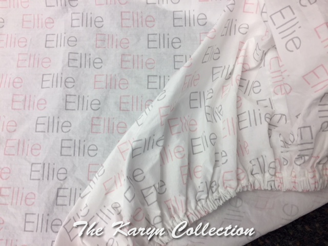 Ellie's personalized Crib Sheet... shown in lt. pink and gray