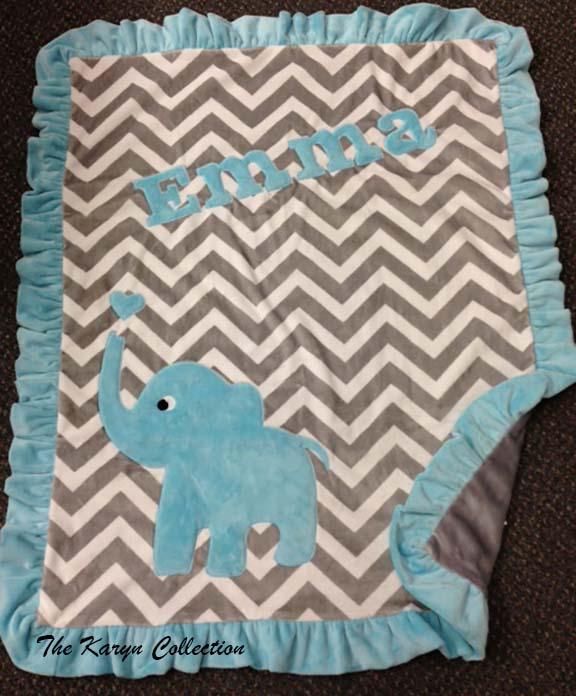 Basic Chevron Elephant Minky Blanket