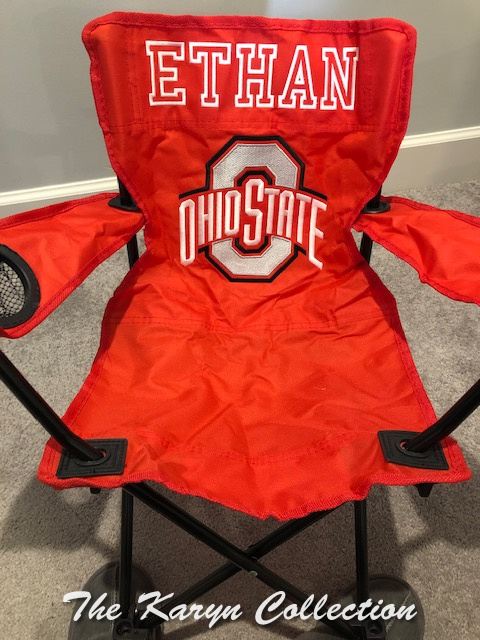 Ethan's Ohio State red stadium chair