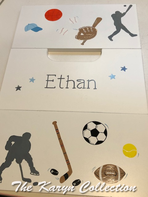 Ethan's baseball and hockey silhouette 2 step stool