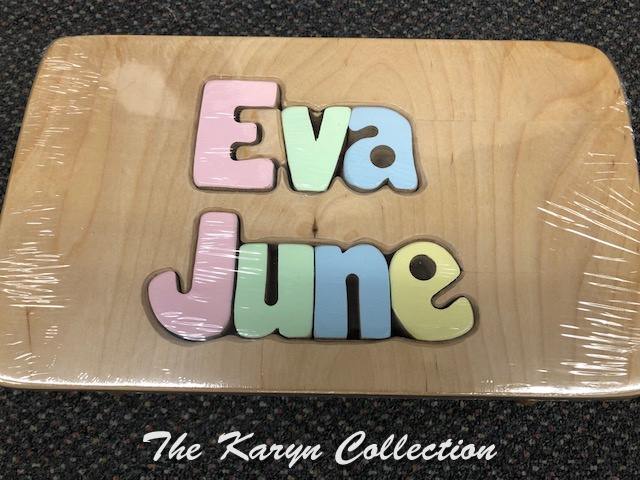 Eva June's Puzzle Stool with first and middle name