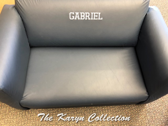 "Gabriel""s Navy Vinyl Couch with White letters"