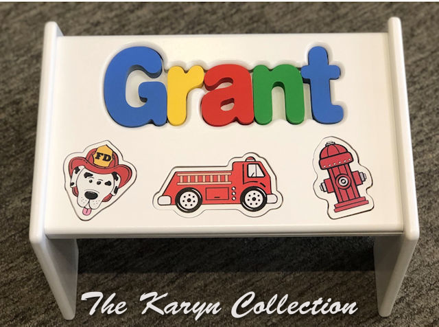 New! Grant's fireman themed puzzle stool on white