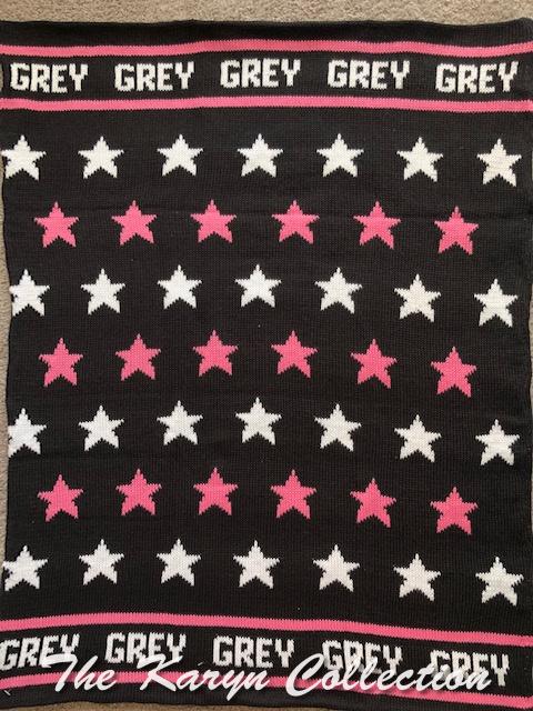 Grey's black, hot pink & white all star cotton blanket