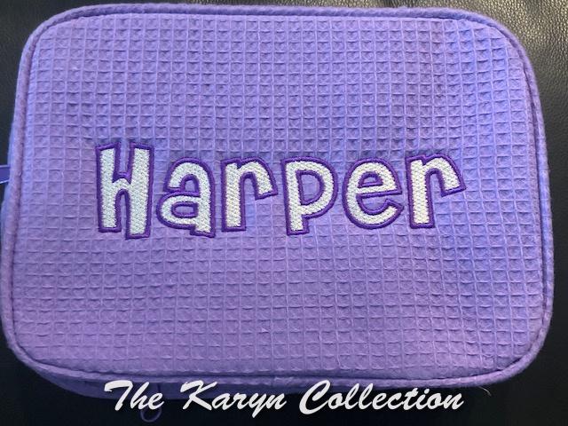 Harper's lavender 2 zipper waffle bag