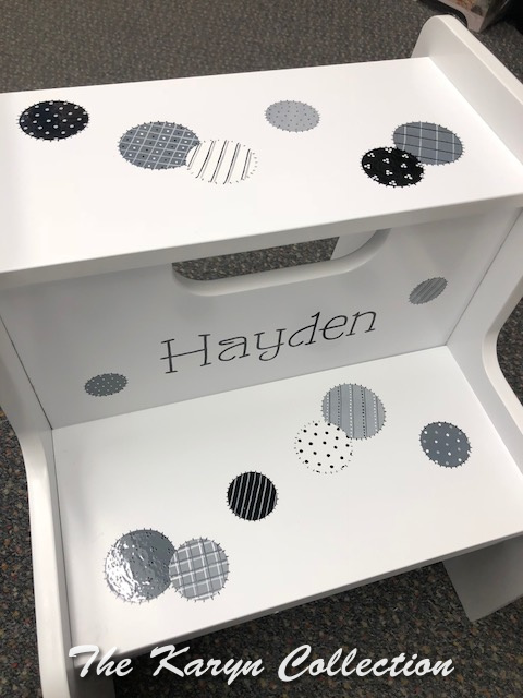 Hayden's Gray Patchwork Circles Stool