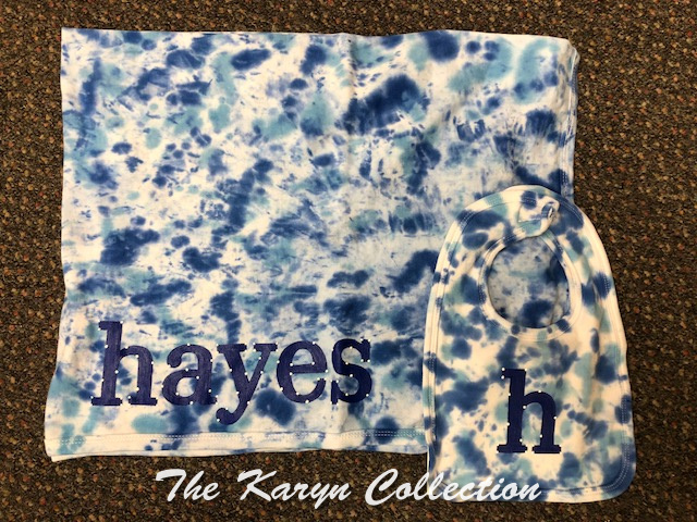 Hayes' 2 Piece Blanket and Bib Set/ tie dyed