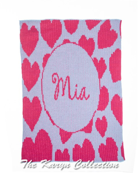 Heavenly Hearts & Name Stroller Blanket