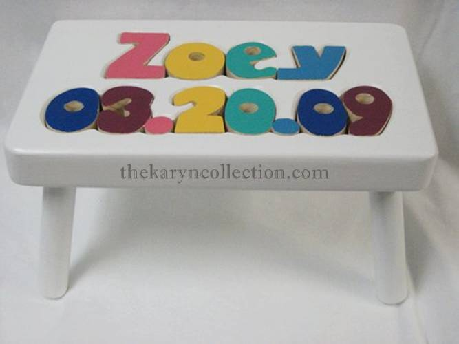 psName & Date of Birth Wooden Puzzle Stool