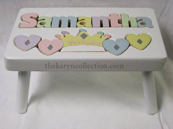 Multi Hearts/Princess Wooden White Puzzle Stool